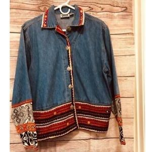Chicos Size 0 Vtg boho Denim Jacket Embroidered
